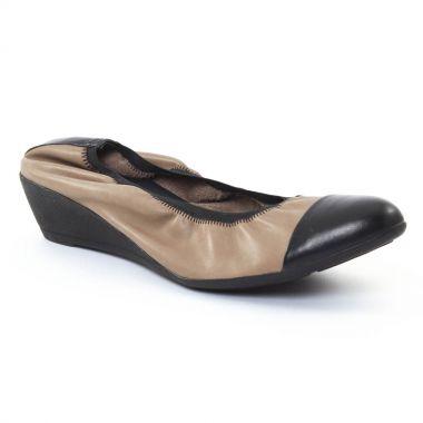 Ballerines Scarlatine 7758 Noir Taupe, vue principale de la chaussure femme