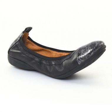 Ballerines Fugitive Nozy Python noir noir, vue principale de la chaussure femme