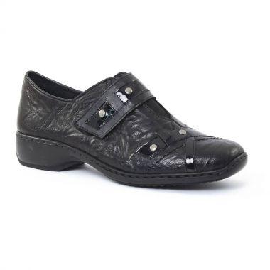 Mocassins Rieker L3863 Noir, vue principale de la chaussure femme