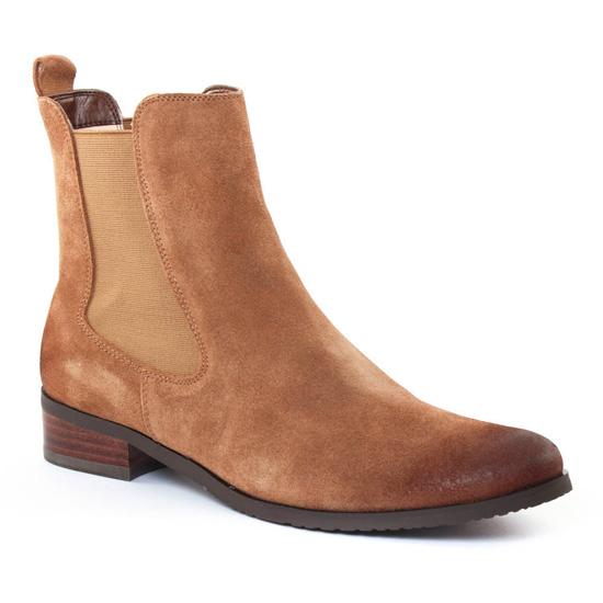 Bottines Et Boots Fugitive Role Velours Camel, vue principale de la chaussure femme