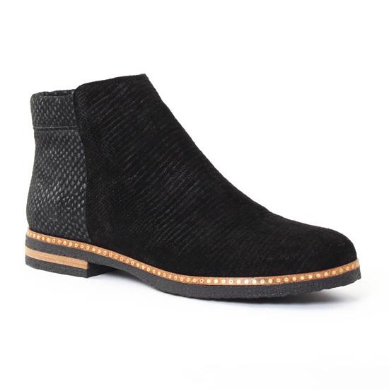 Bottines Et Boots Axell Rime Noir Gris, vue principale de la chaussure femme