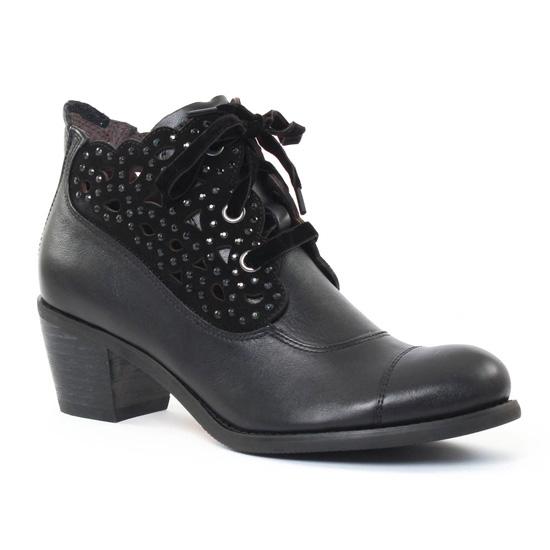 Mamzelle Ola Noir | bottine à lacets noir automne hiver chez