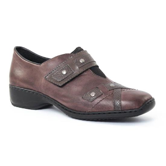 Mocassins Rieker L3863 Graphite, vue principale de la chaussure femme