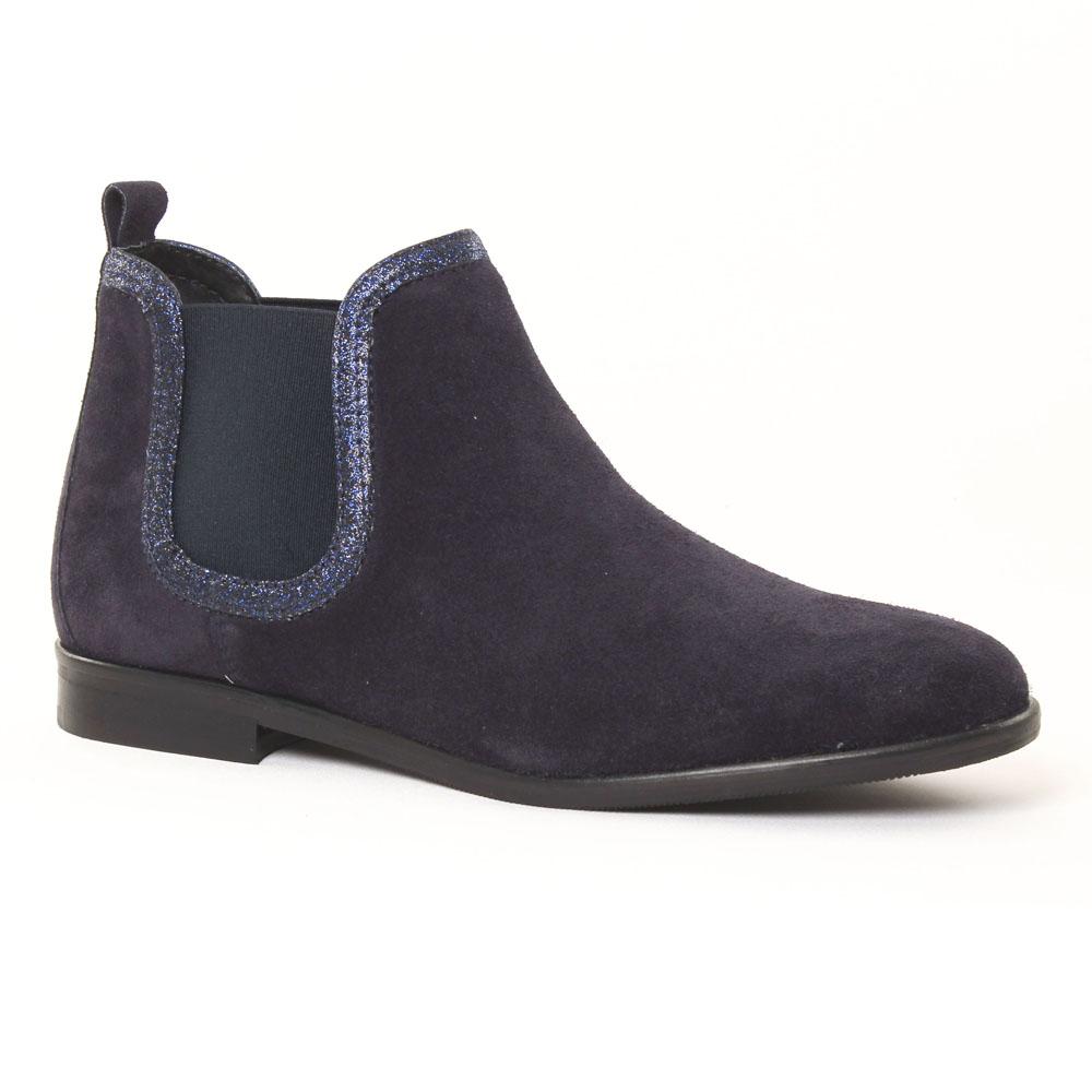 scarlatine 7363 velours marine boot lastiqu es bleu marine automne hiver chez trois par 3. Black Bedroom Furniture Sets. Home Design Ideas