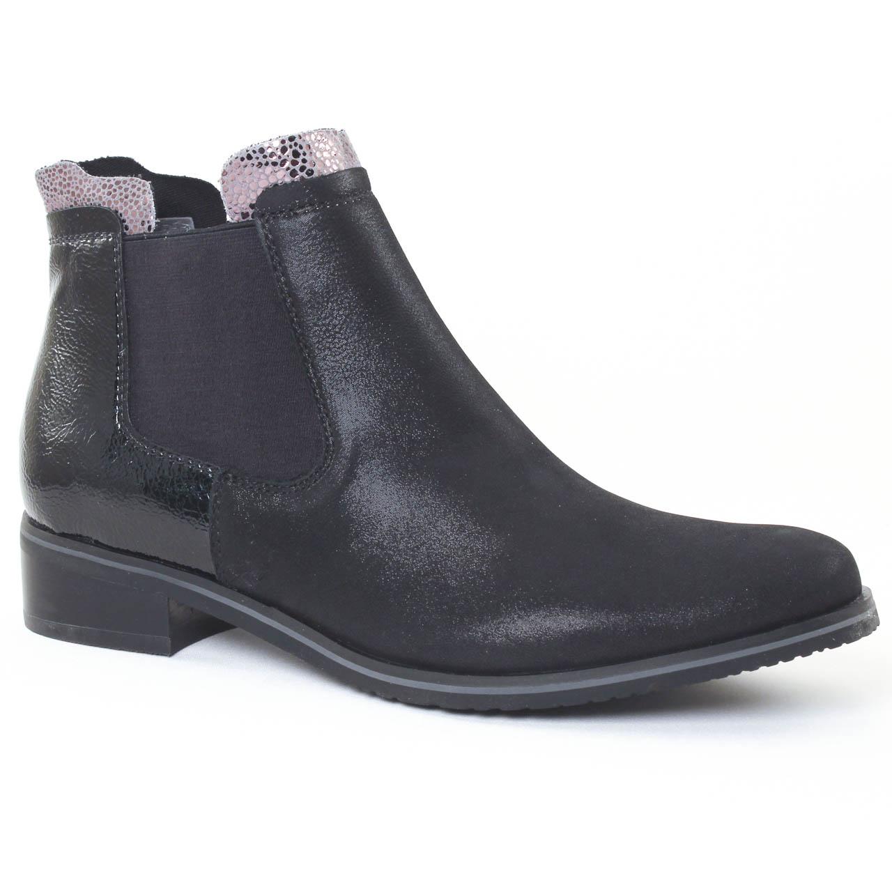 fugitive velvet compo metal noir | boot élastiquées noir vernis