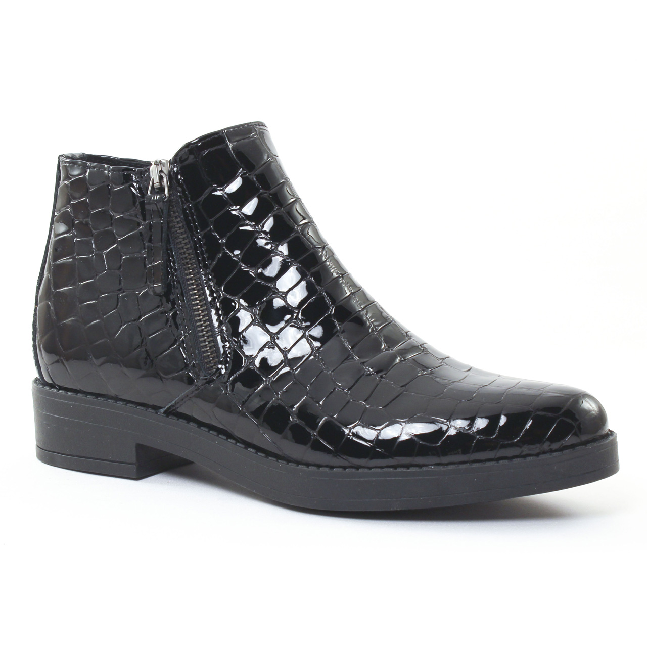 scarlatine 6649 croco noir boots vernis noir automne. Black Bedroom Furniture Sets. Home Design Ideas