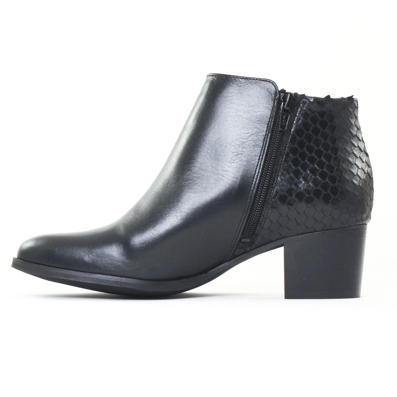 scarlatine 6543 noir boot talon noir reptile automne hiver chez trois par 3. Black Bedroom Furniture Sets. Home Design Ideas