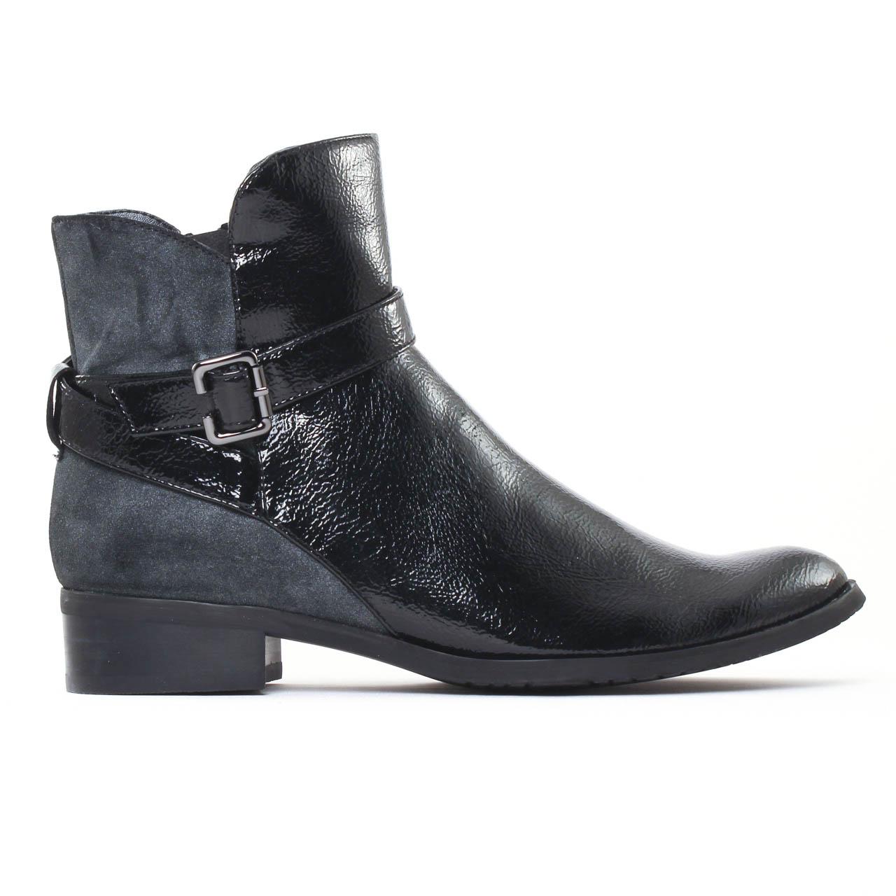fugitive rupert vernis noir cross gris boots vernis noir. Black Bedroom Furniture Sets. Home Design Ideas