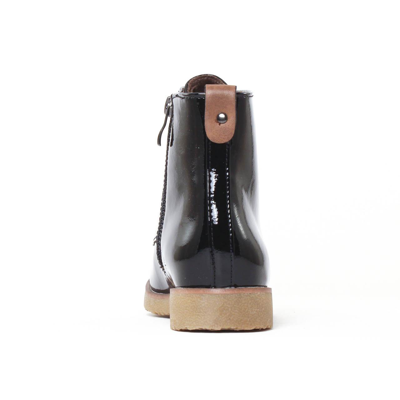 marco tozzi 25209 black bottine lacets noir vernis automne hiver chez trois par 3. Black Bedroom Furniture Sets. Home Design Ideas