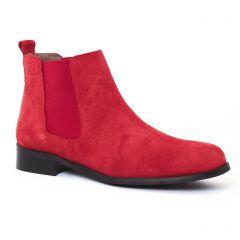 boots-chelsea rouge: même style de chaussures en ligne pour femmes que les Tamaris