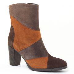 boots-talon orange gris: même style de chaussures en ligne pour femmes que les Scarlatine