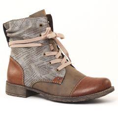 Chaussures femme hiver 2016 - bottines à lacets rieker gris marron