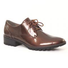derbys-talon vernis marron: même style de chaussures en ligne pour femmes que les Tamaris