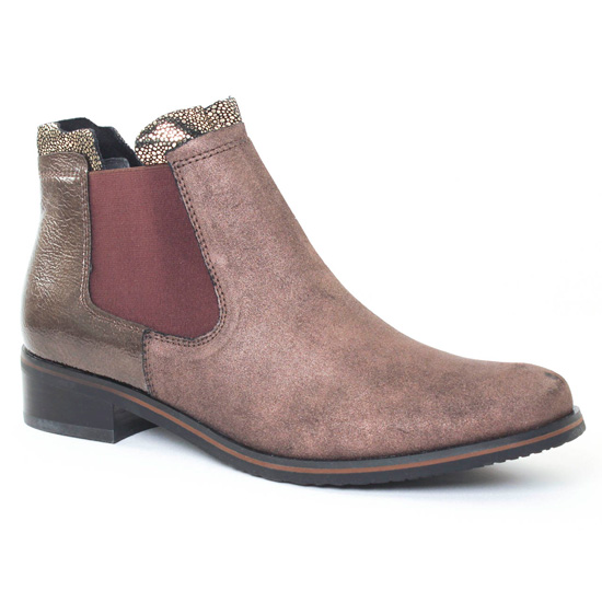 Bottines Et Boots Fugitive Velvet Compo Cross Brown, vue principale de la chaussure femme