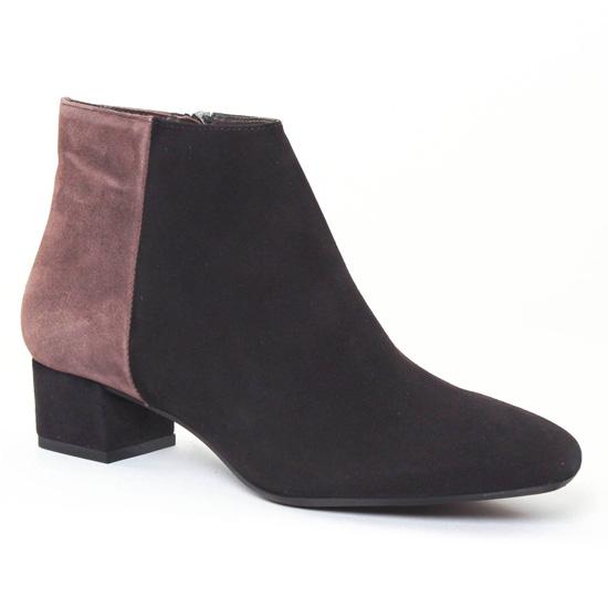 Bottines Et Boots Perlato 9555 Velours Noir Fango, vue principale de la chaussure femme