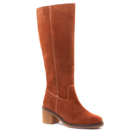 Bottes Scarlatine 7260 Velours Camel, vue principale de la chaussure femme