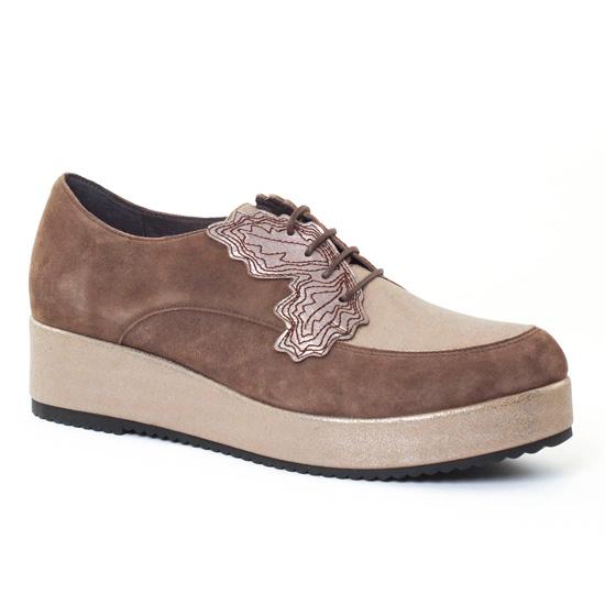Chaussures À Lacets Mamzelle Revati Velours Chene, vue principale de la chaussure femme