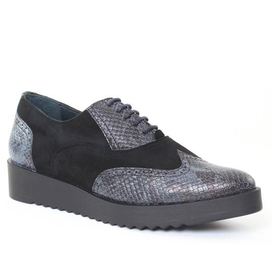 Chaussures À Lacets Scarlatine Patchouli Velours Noir, vue principale de la chaussure femme