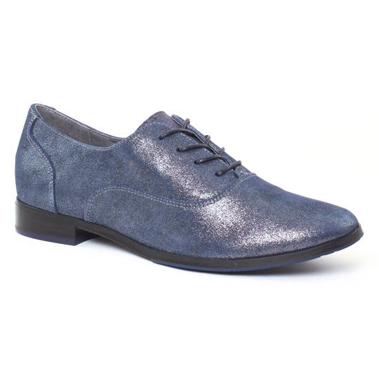 Chaussures À Lacets Fugitive Hevea Metal Navy, vue principale de la chaussure femme