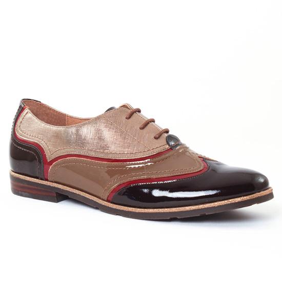 Chaussures À Lacets Mamzelle Colin Moka Or, vue principale de la chaussure femme