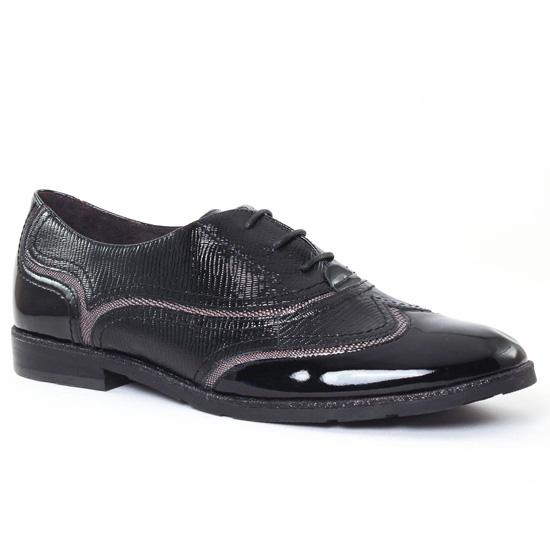 Chaussures À Lacets Mamzelle Colin Noir Vernis, vue principale de la chaussure femme
