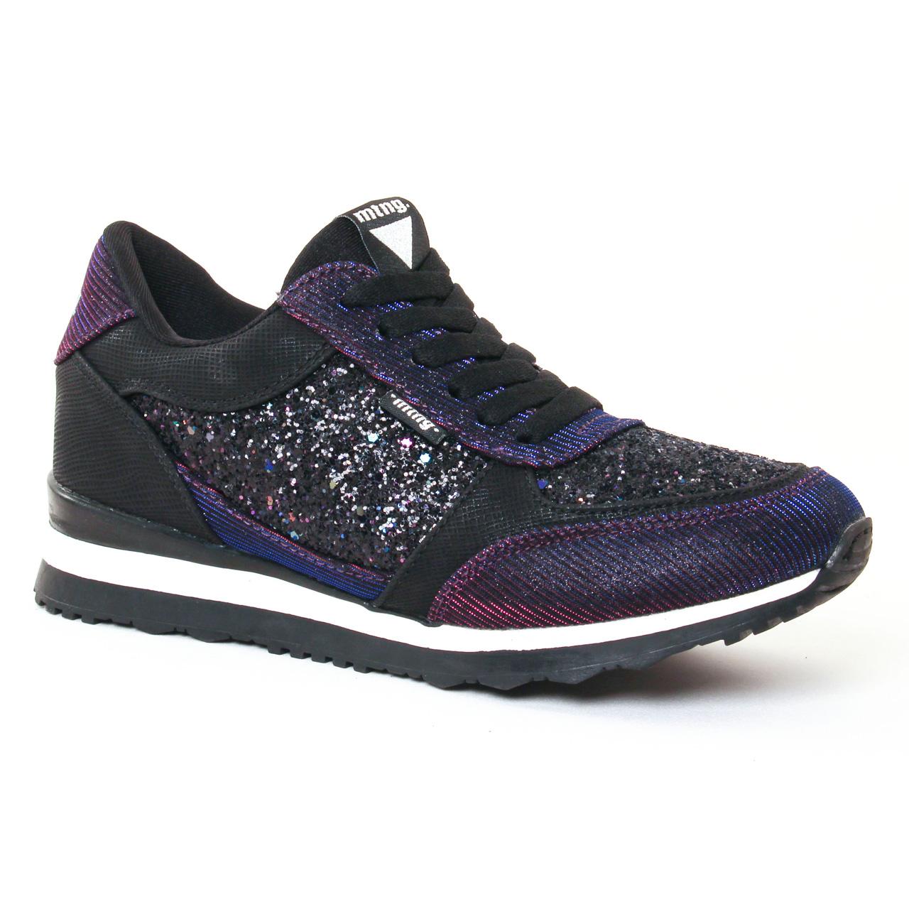 Chaussures femme Noir avec paillettes multicouleurs Mtng