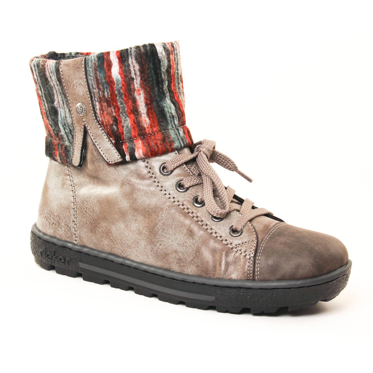 rieker z8753 gris boot fourr es gris automne hiver chez trois par 3. Black Bedroom Furniture Sets. Home Design Ideas