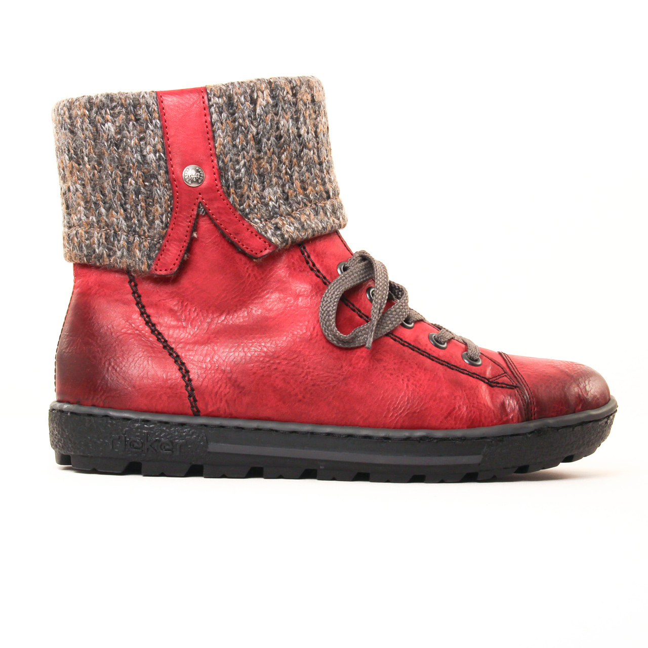 rieker z8753 rouge boot fourr es rouge automne hiver chez trois par 3. Black Bedroom Furniture Sets. Home Design Ideas