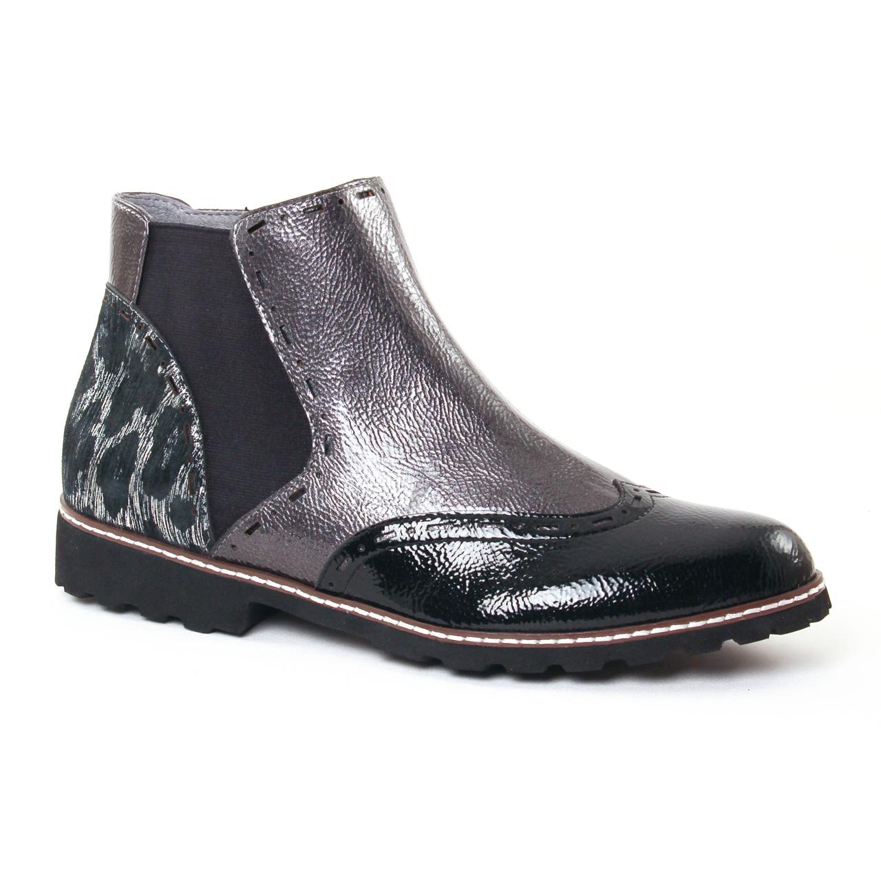 09b9c0ed3852a0 Fugitive Woipy Argent Vernis | boot élastiquées noir argent automne ...