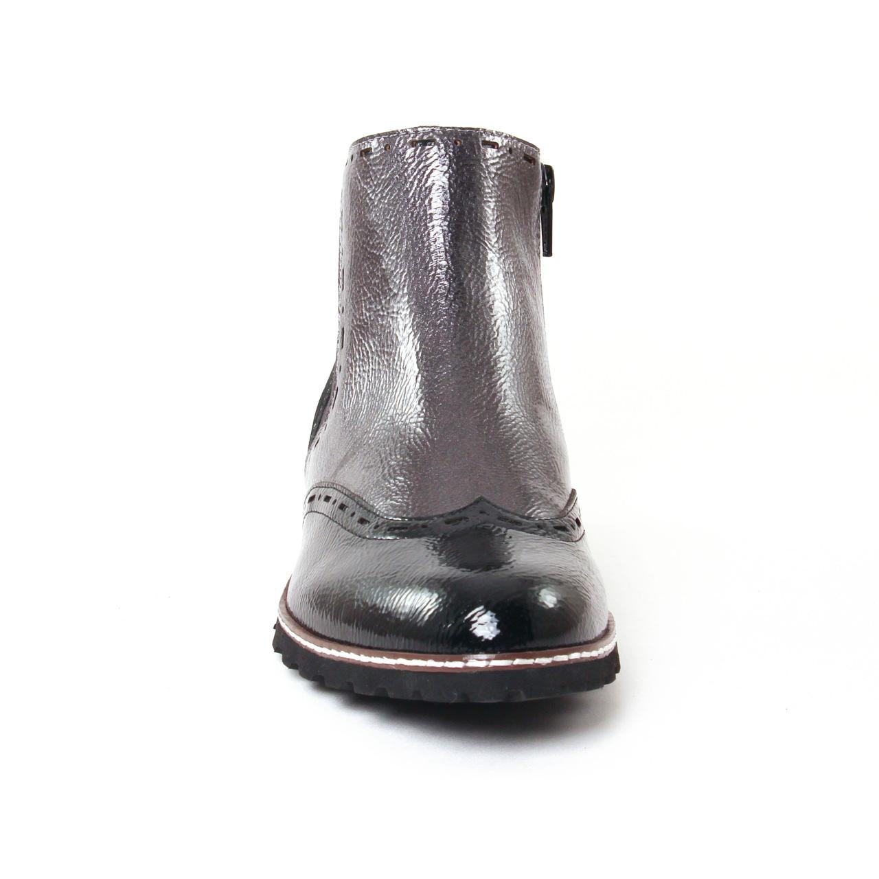 fugitive woipy argent vernis | boot élastiquées noir argent