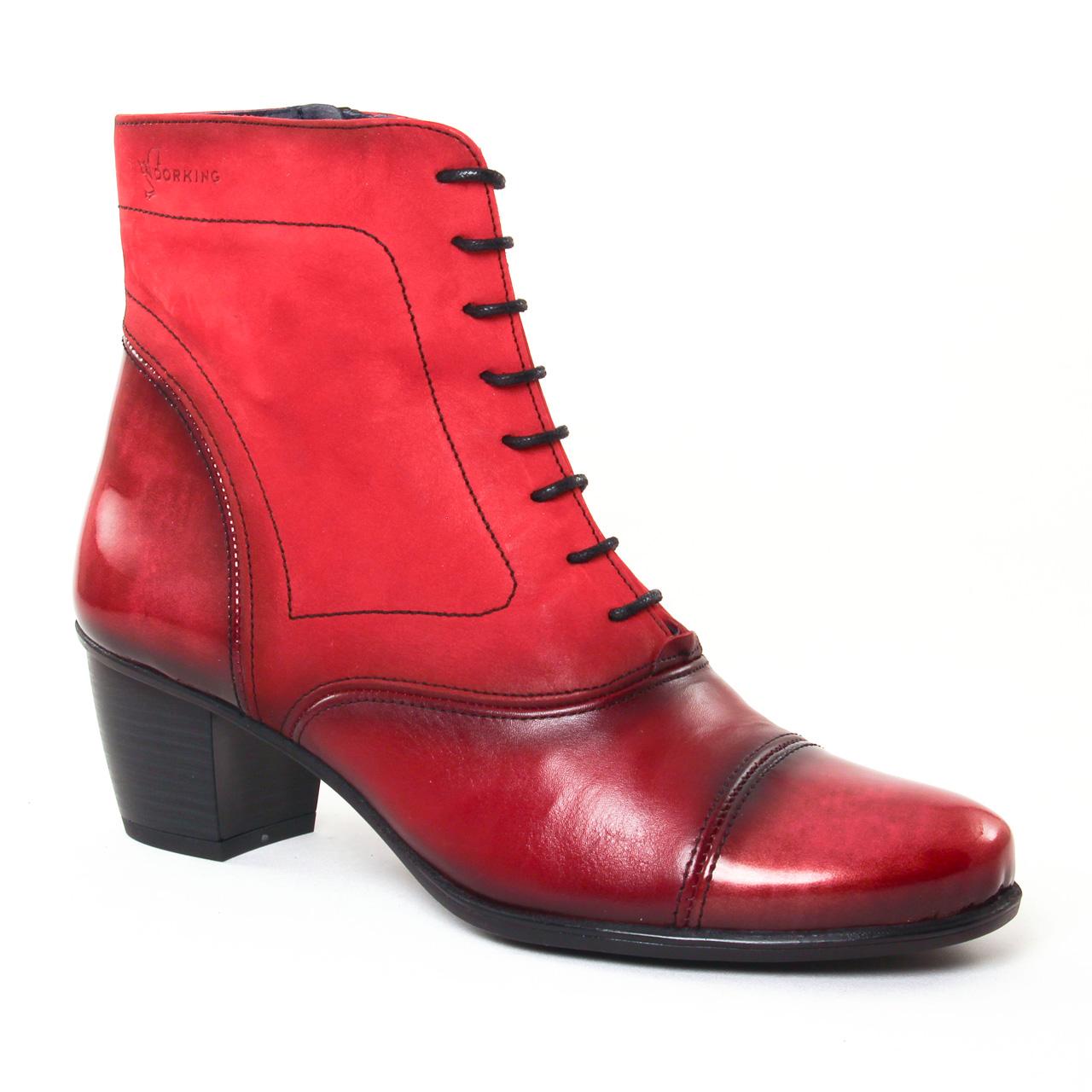 dorking brisda 7255 picota | bottine à lacets rouge automne hiver