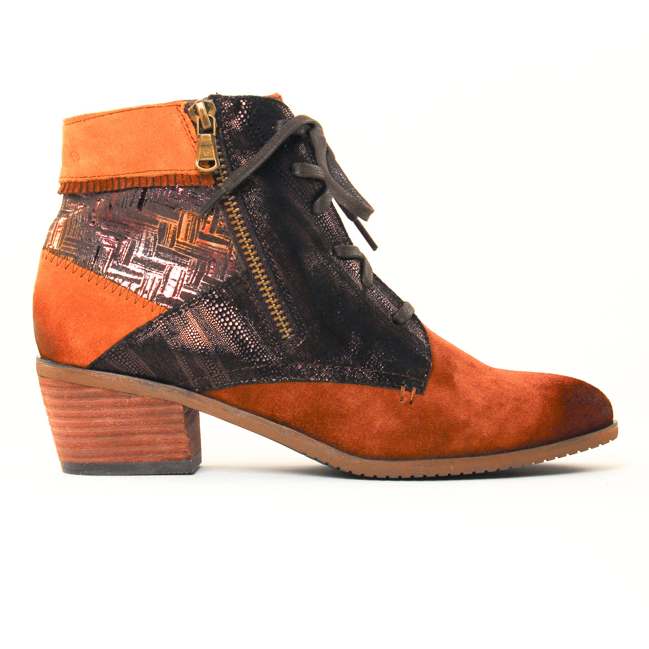 fugitive soral velours gold | bottine à lacets orange marron
