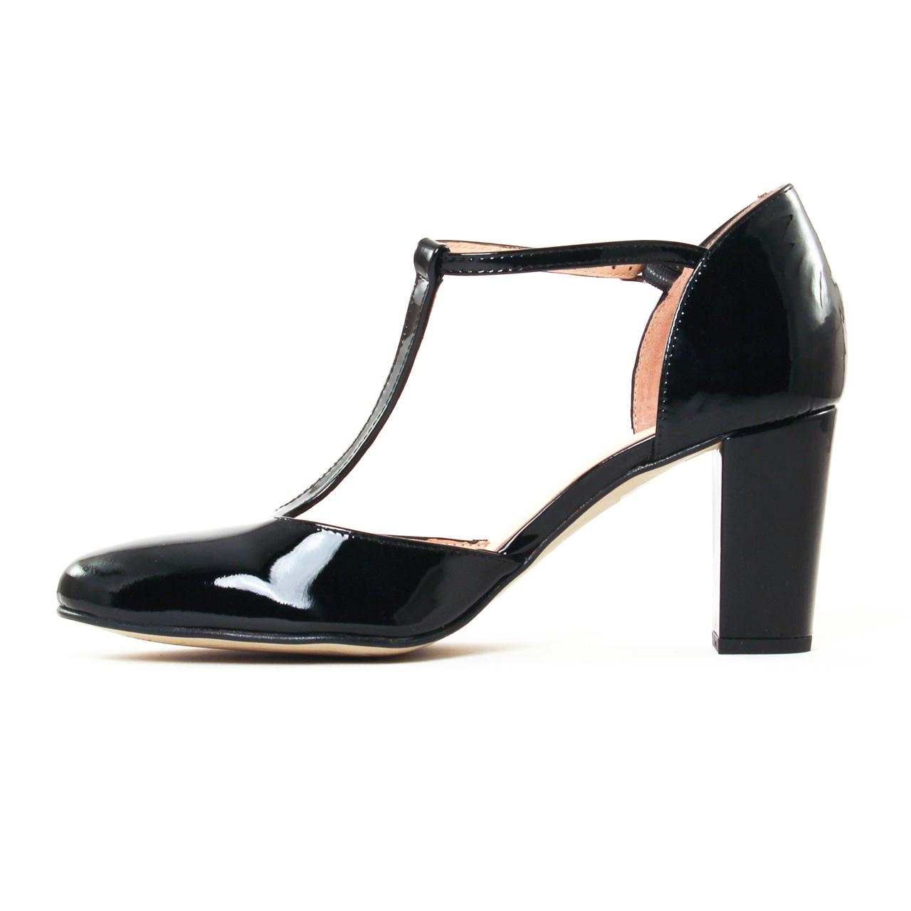 Salomé noir vernis talon haut chaussures escarpins