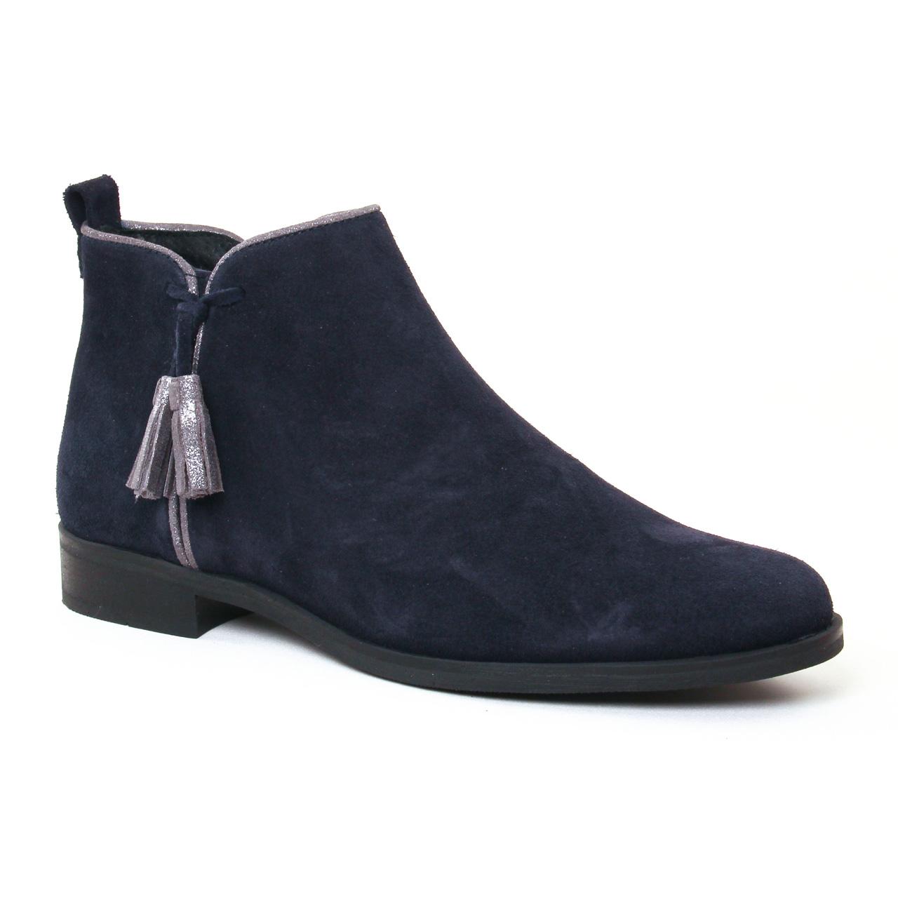 scarlatine 7658 marine low boots bleu gris argent automne hiver chez trois par 3. Black Bedroom Furniture Sets. Home Design Ideas