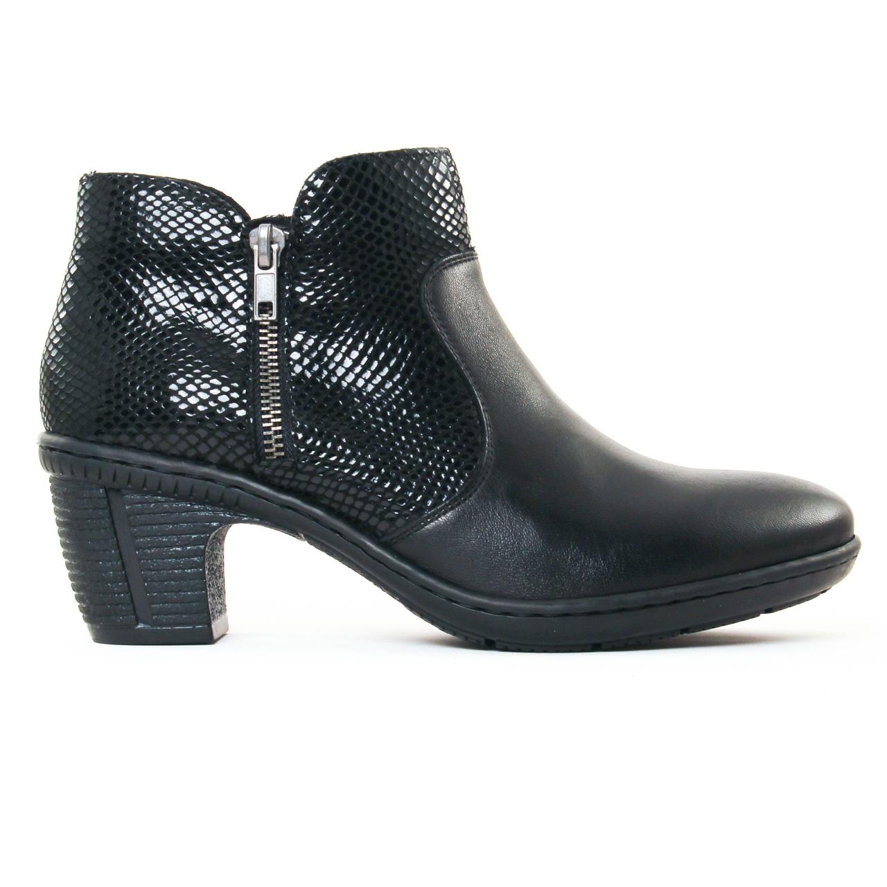 Rieker 50288 Noir | low boots noir automne hiver chez TROIS