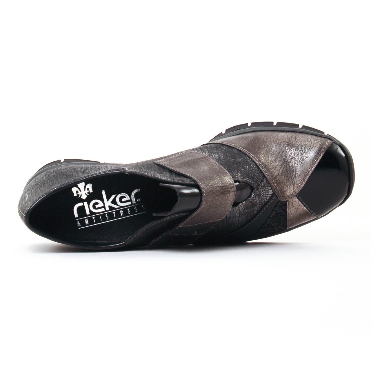Rieker 537C1 Noir | mocassin trotteurs noir argent automne