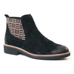 Fugitive Gema Velours Noir : chaussures dans la même tendance femme (boots-chelsea velours noir) et disponibles à la vente en ligne