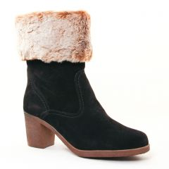 boots-fourrees noir beige: même style de chaussures en ligne pour femmes que les Tamaris