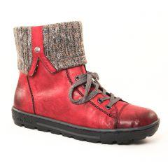 Chaussures femme hiver 2017 - boots fourrées rieker rouge