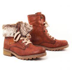Chaussures femme hiver 2017 - bottines fourrées rieker marron