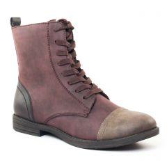 Chaussures femme hiver 2017 - bottines à lacets tamaris mauve taupe