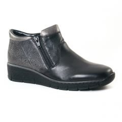 Chaussures femme hiver 2017 - low boots rieker noir argent