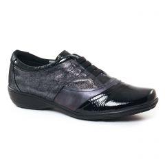 Chaussures femme hiver 2017 - derbys Geo Reino noir argent