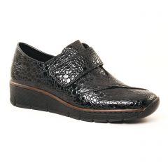 mocassins-trotteurs noir vernis: même style de chaussures en ligne pour femmes que les Rieker