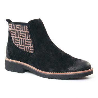Bottines Et Boots Fugitive Gema Velours Noir, vue principale de la chaussure femme