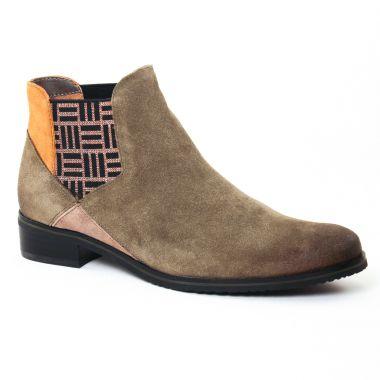 Bottines Et Boots Fugitive Vegas Velours Kaki, vue principale de la chaussure femme