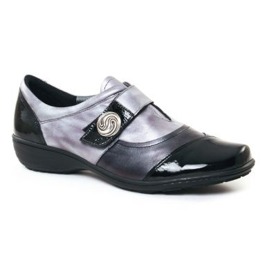 Mocassins Geo Reino Inbada Noir Antracite, vue principale de la chaussure femme