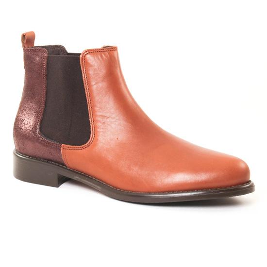 Bottines Et Boots Scarlatine 77545 Cognac Moka, vue principale de la chaussure femme