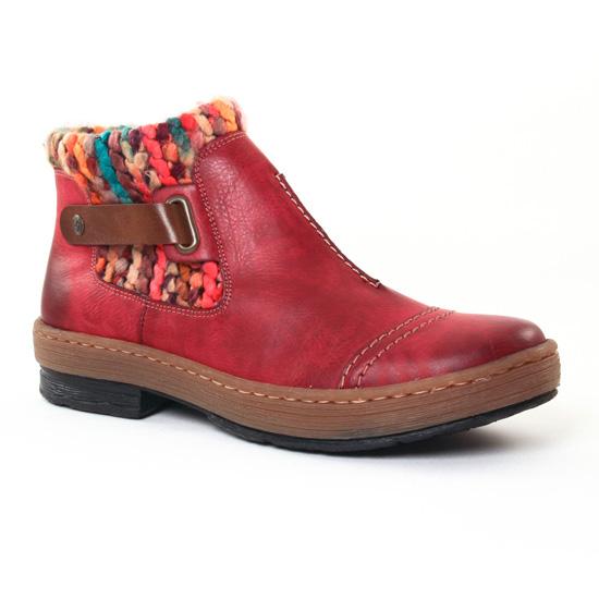 Bottines Et Boots Rieker Z6784 Rouge, vue principale de la chaussure femme