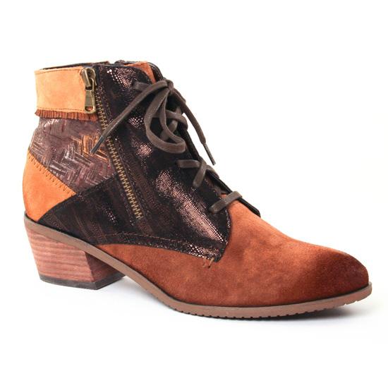 Bottines Et Boots Fugitive Soral Velours Gold, vue principale de la chaussure femme